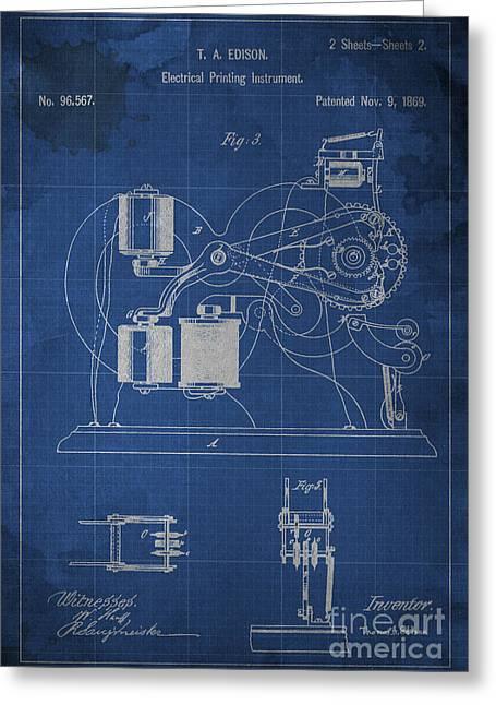 Edison Electrical Printing Instrument Blueprint 2 Greeting Card