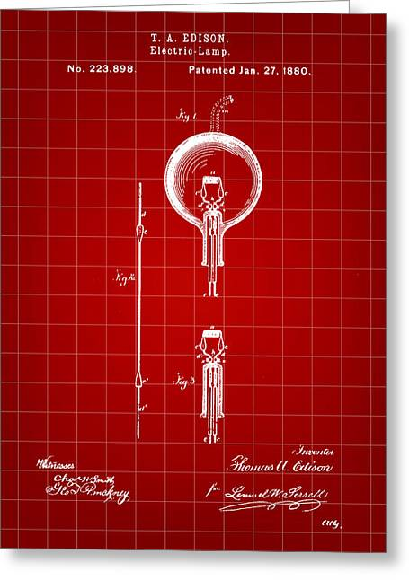 Edison Light Bulb Patent 1880 - Red Greeting Card by Stephen Younts
