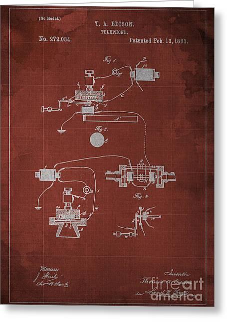 Edison Telephone Patent Blueprint 1 Greeting Card