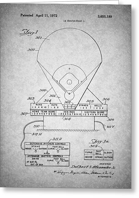 Electric Baseball Game Patent 1972 Greeting Card by Mountain Dreams