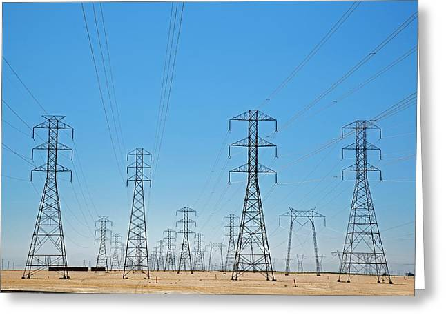 Electricity Pylons Greeting Card by Jim West