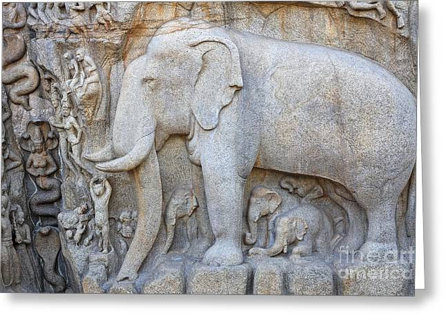 Elephant Sculpture At Mamallapuram  Greeting Card by Robert Preston