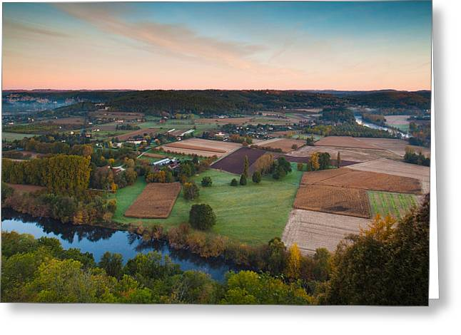 Elevated View Of The Dordogne River Greeting Card