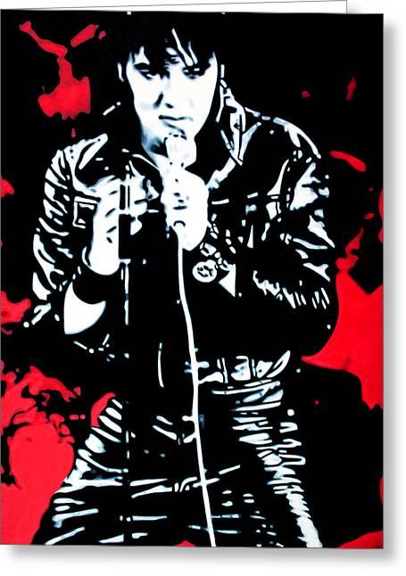 Elvis Greeting Card by Luis Ludzska