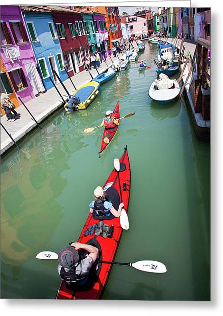 Europe Italy Burano Bright Colored Greeting Card by Terry Eggers