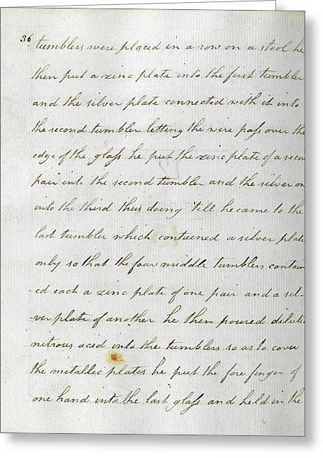 Faraday's Notes On Tatum's Lectures Greeting Card by Royal Institution Of Great Britain