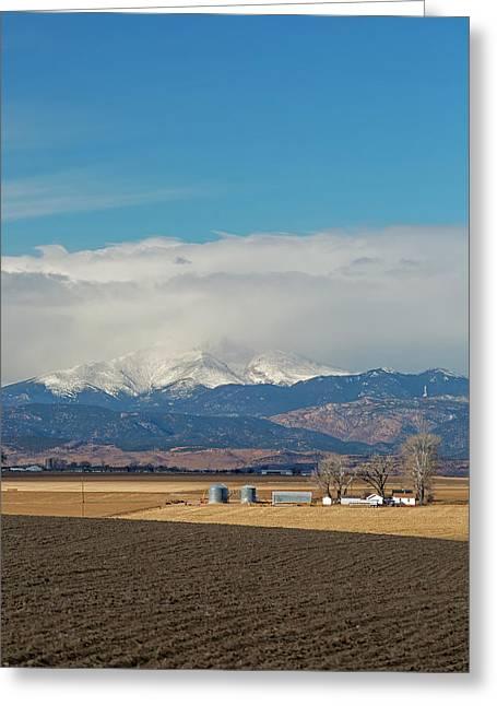 Farmland Below The Rocky Mountains Greeting Card
