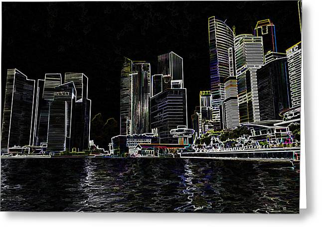 Financial District Of Singapore And View Of The Water Greeting Card by Ashish Agarwal