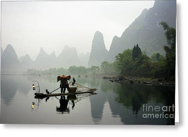 Fisherman In China Greeting Card by King Wu