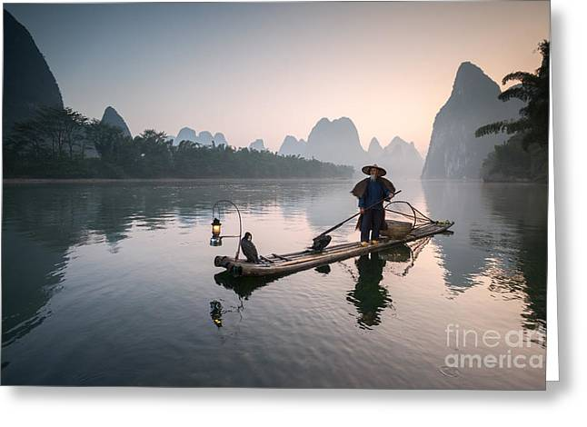 Fisherman With Cormorants On The Li River Near Guilin China Greeting Card by Matteo Colombo