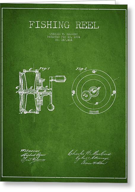 Fishing Reel Patent From 1874 Greeting Card