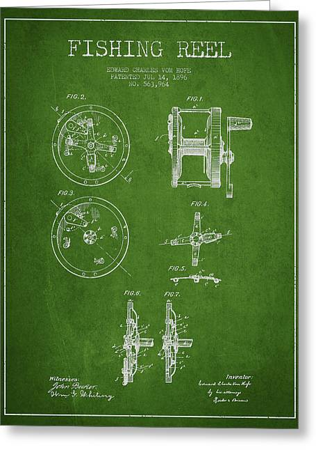 Fishing Reel Patent From 1896 Greeting Card