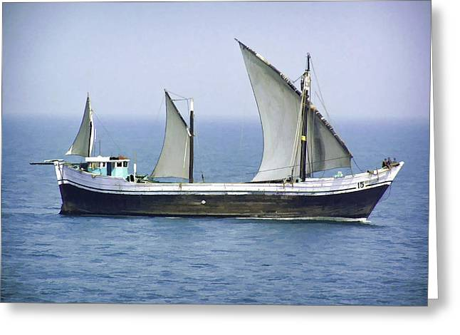 Fishing Vessel In The Arabian Sea Greeting Card
