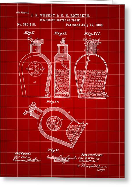 Flask Patent 1888 - Red Greeting Card by Stephen Younts