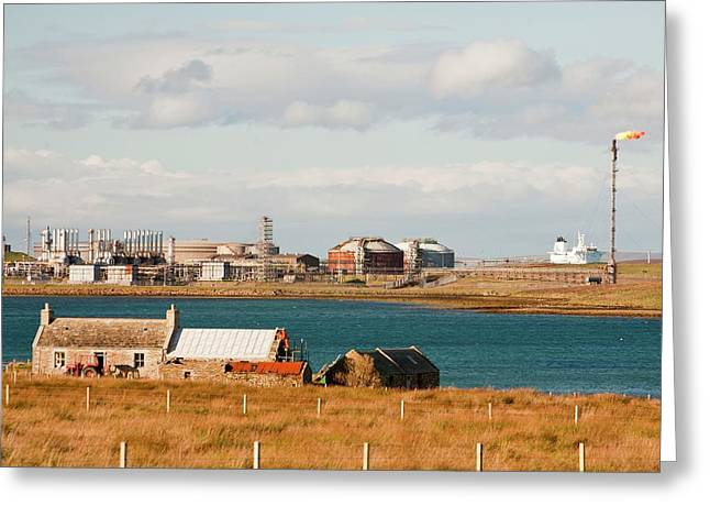 Flotta Oil Terminal Greeting Card by Ashley Cooper