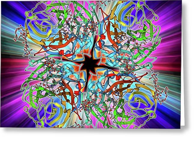 Flu Virus Surface Protein Molecule Greeting Card