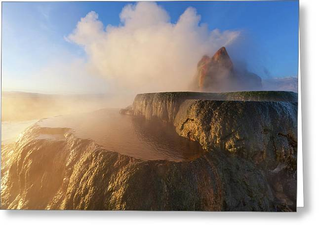 Fly Geyser With Snow Capped Granite Greeting Card by Chuck Haney