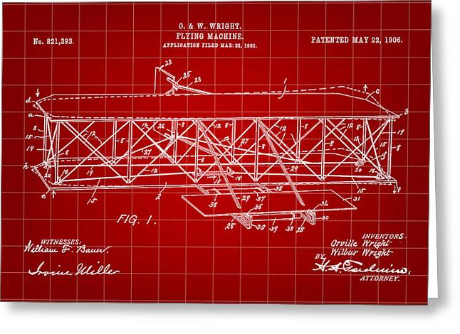 Flying Machine Patent 1903 - Red Greeting Card by Stephen Younts