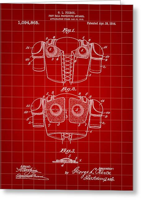 Football Shoulder Pads Patent 1913 - Red Greeting Card by Stephen Younts