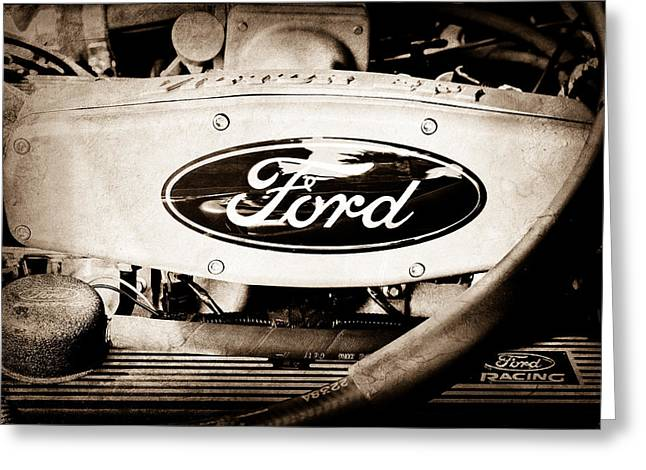 Ford Engine Emblem Greeting Card by Jill Reger