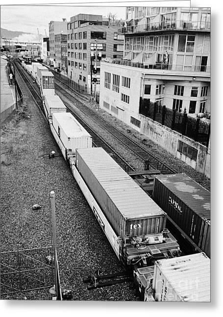 freight train goods tracks near main street and port metro docks Vancouver BC Canada Greeting Card