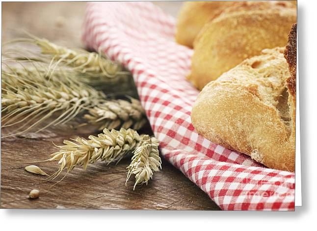 Fresh Bread Greeting Card by Mythja  Photography