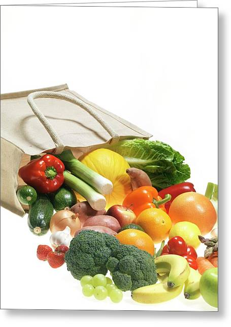 Fruit And Vegetables Greeting Card by Tek Image/science Photo Library