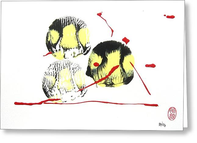 Greeting Card featuring the painting Fugu Ichi by Roberto Prusso
