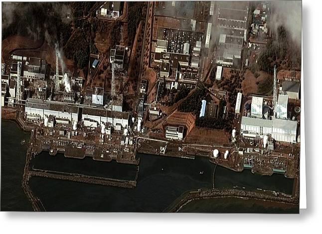 Fukushima Nuclear Power Plant Greeting Card by Digital Globe