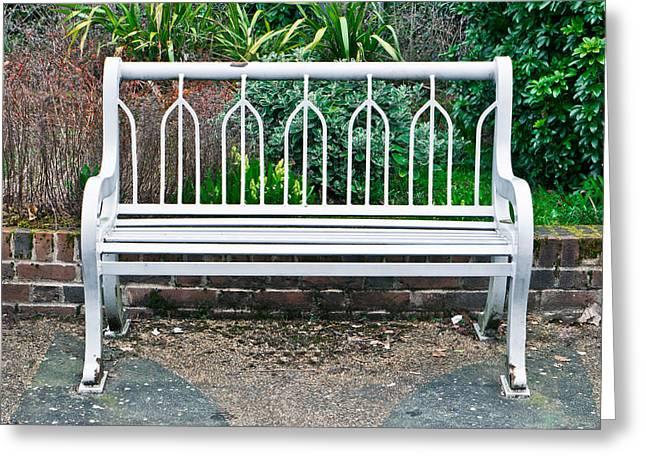 Garden Bench Greeting Card by Tom Gowanlock