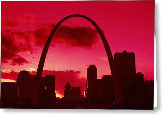 Gateway Arch With City Skyline Greeting Card