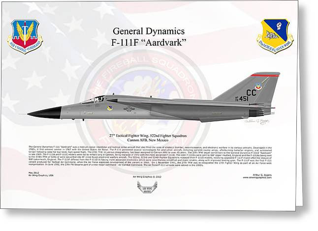 General Dynamics F-111f Aardvark Greeting Card