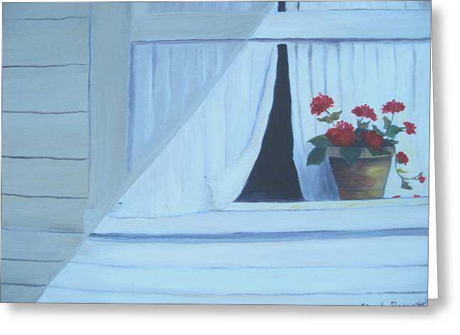 Geraniums On Windowsill Greeting Card by Glenda Barrett