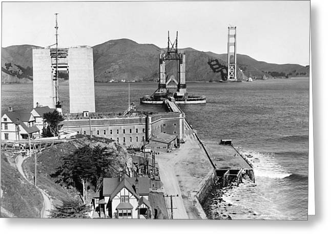 Gg Bridge Under Construction Greeting Card by Underwood Archives