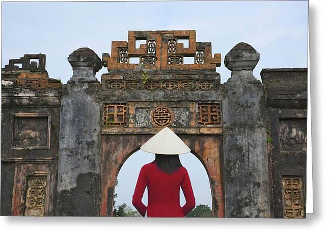 Girl In Ao Dai (traditional Vietnamese Greeting Card by Keren Su
