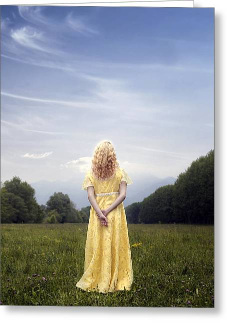 Girl On Meadow Greeting Card