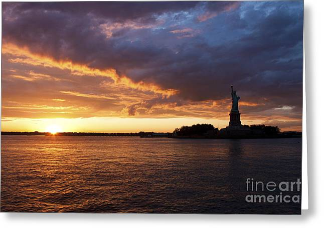 Glorious Sunset Over New York Greeting Card by Shishir Sathe