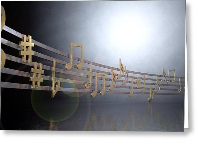 Gold Music Notes On Wavy Lines Greeting Card by Allan Swart