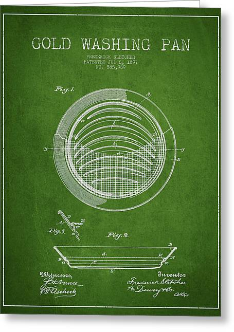 Gold Washing Pan Patent Drawing From 1897 Greeting Card by Aged Pixel