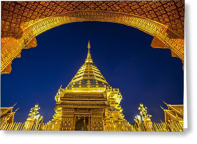Golden Pagoda Greeting Card by Anek Suwannaphoom