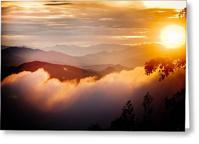 Greeting Card featuring the photograph Golden Sunset Himalayas Mountain Nepal by Raimond Klavins