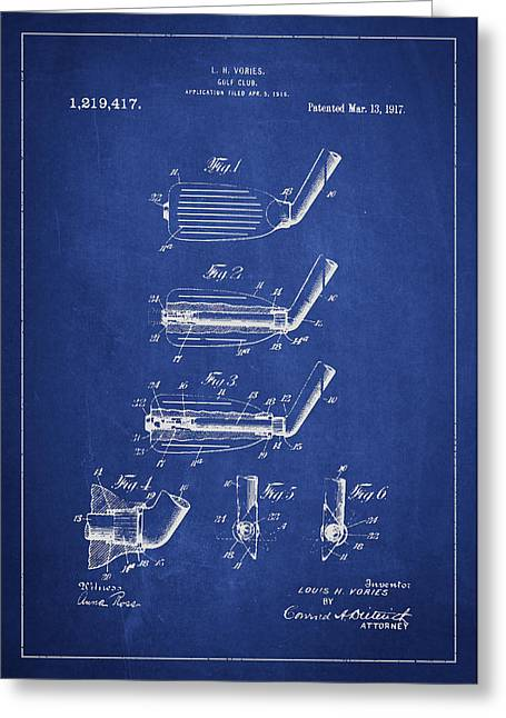 Golf Club Patent Drawing From 1917 Greeting Card