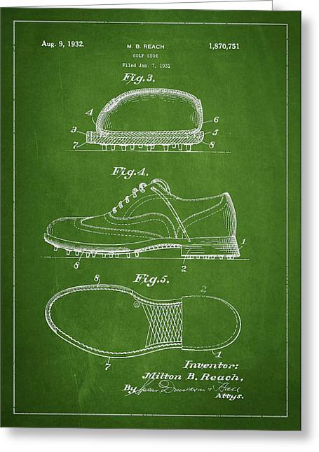 Golf Shoe Patent Drawing From 1931 Greeting Card