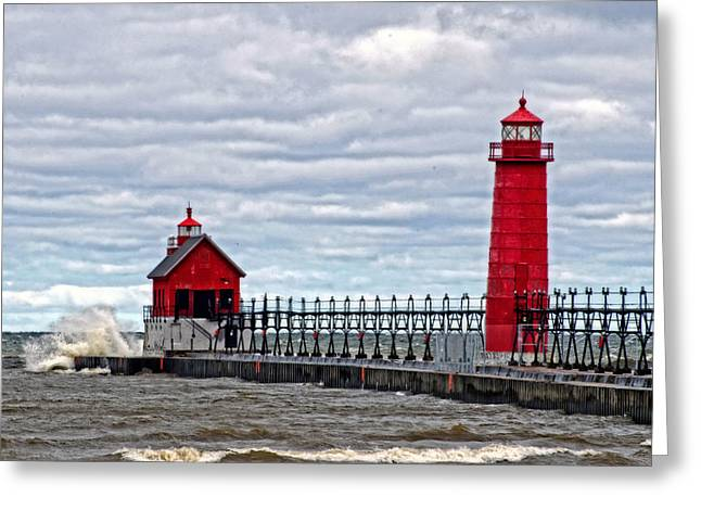 Grand Haven Lighthouse Greeting Card by Cheryl Cencich