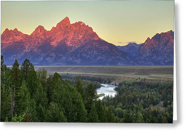 Greeting Card featuring the photograph Grand Tetons Morning At The Snake River Overview - 2 by Alan Vance Ley