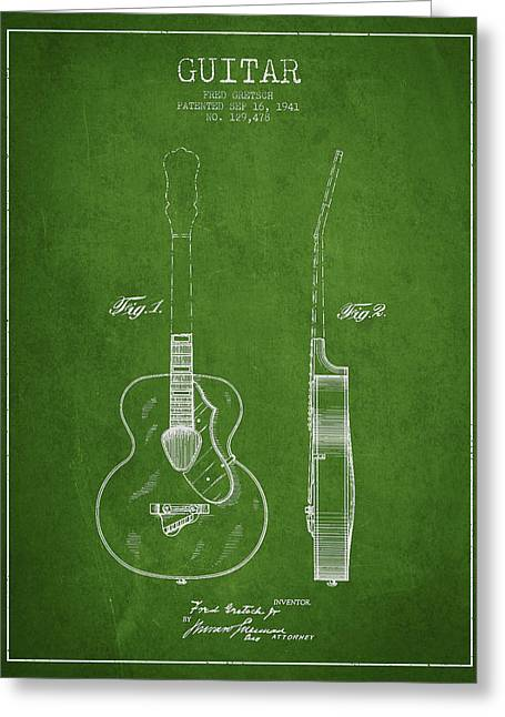 Gretsch Guitar Patent Drawing From 1941 - Green Greeting Card by Aged Pixel