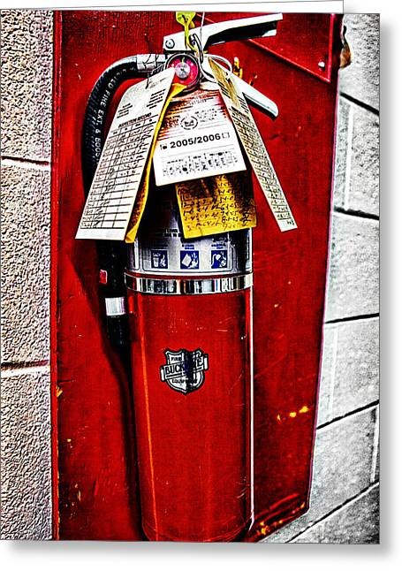 Grungy Fire Extinguisher Greeting Card