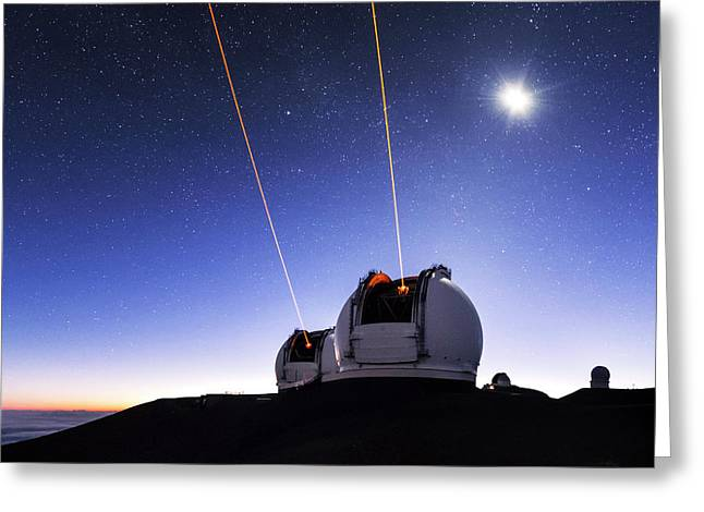 Guide Lasers Over Mauna Kea Observatories Greeting Card