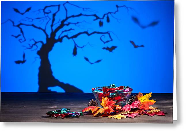 Halloween Tree Bats And Sweets Greeting Card by Ulrich Schade