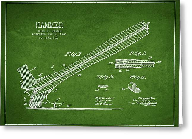 Hammer Patent Drawing From 1901 Greeting Card